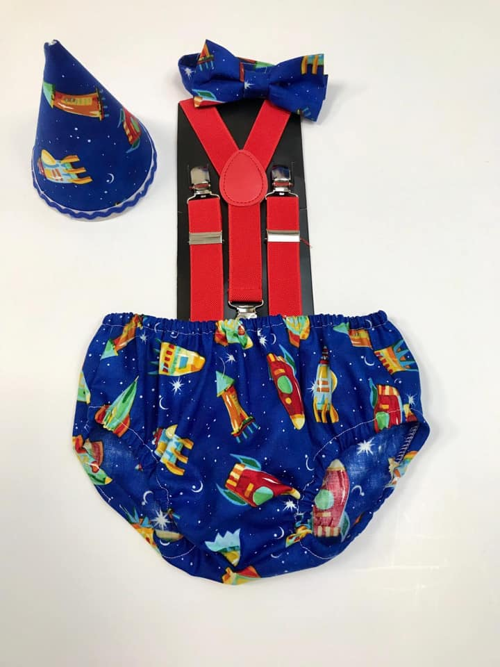 Boys Space Themed Pants, Bow Tie, Hat & Braces Cake Smash Outfit - 12-18 mths - Photography Prop - Ready to Post