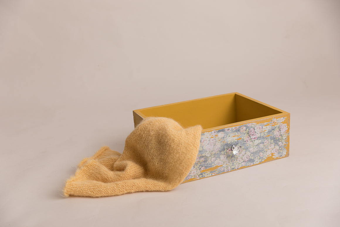 Mustard Vintage Inspire Dual Drawer and Crate - Photography Prop - Newborn Photography - Sitter Photography - RTS