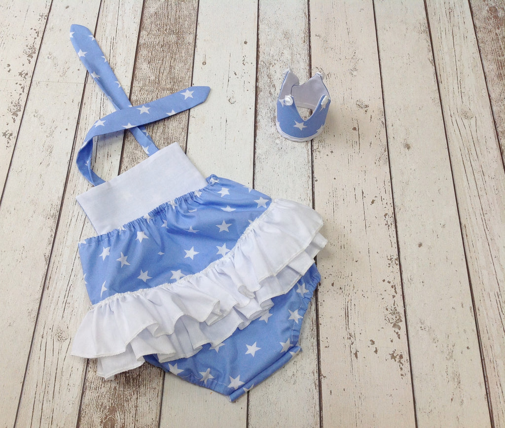 blue and white star romper