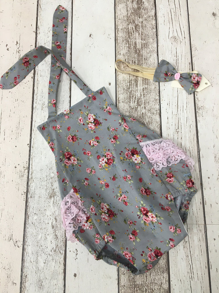 Girls Grey Flower Ruffle Romper and Headband - Age 12-18 mths