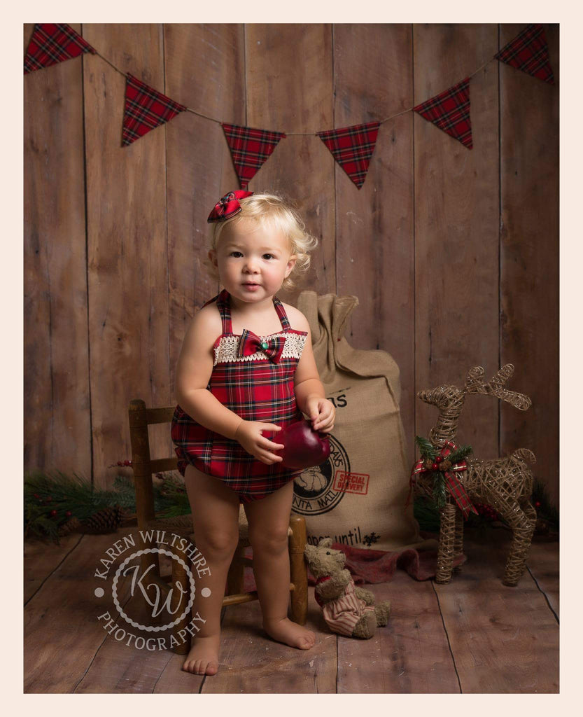 Girls Red Tartan Romper Set - Coordinating Bunting -Various sizes