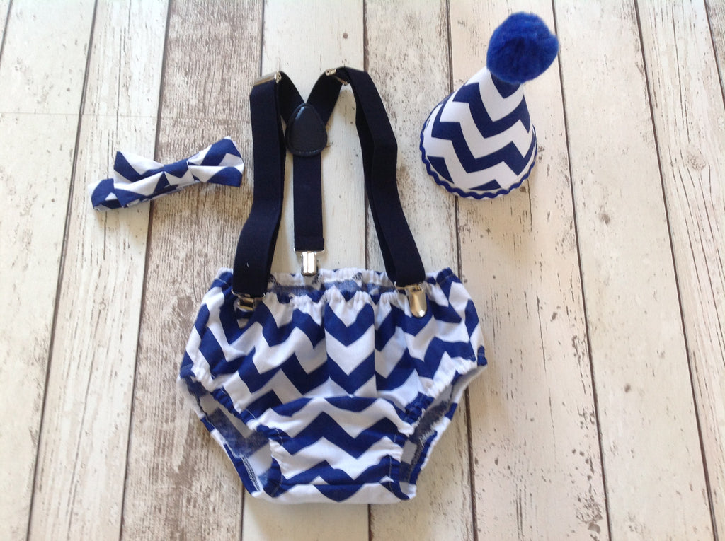 Boys Blue Chevron Cake Smash Set - Bow Tie, Pants and hat age 12-18 months