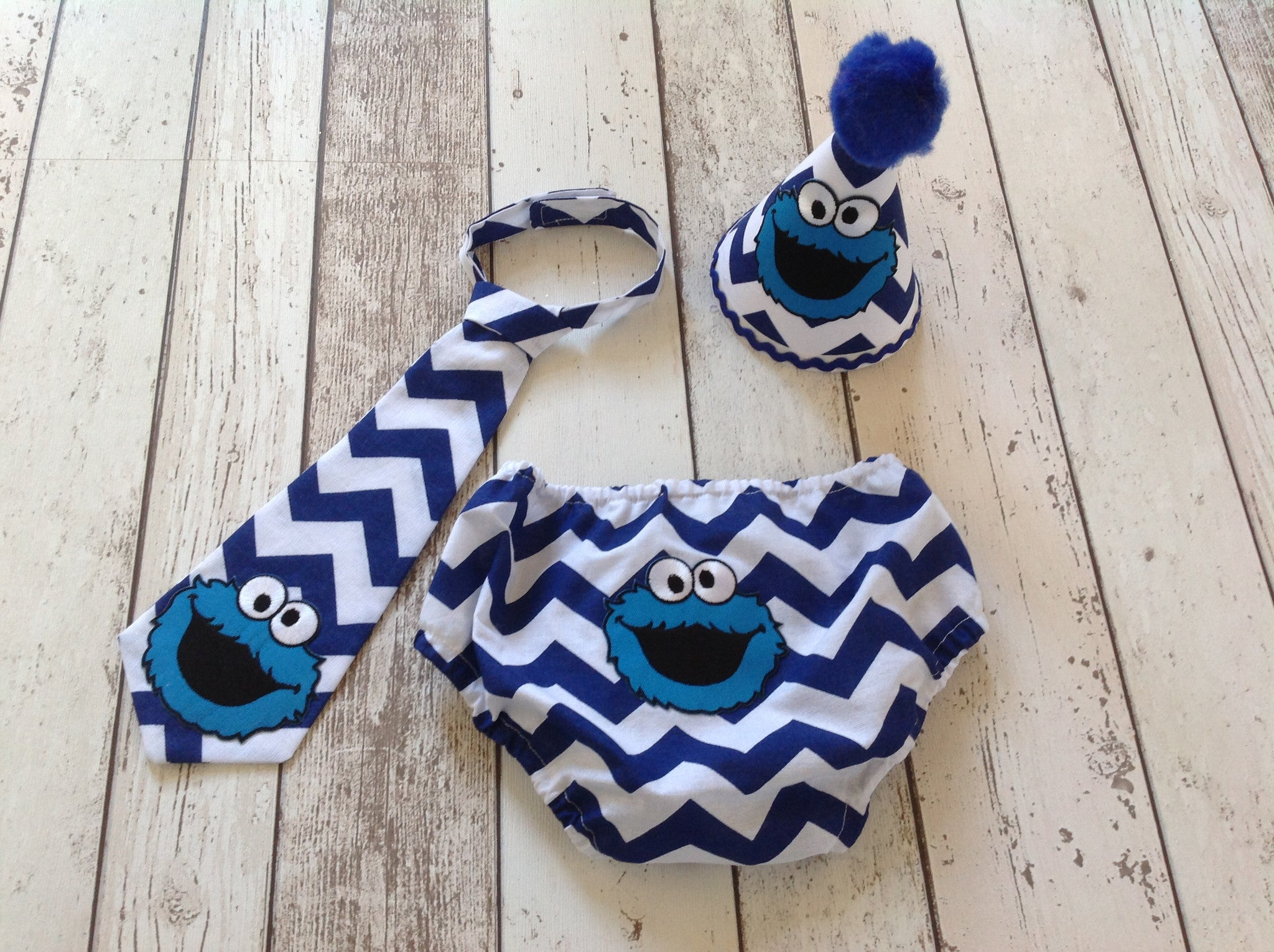 Boys Cookie Monster Cake Smash Set Pants Hat Tie Age 12 18 Months