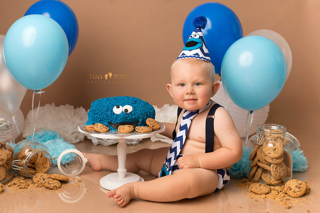 Boys Cookie Monster Cake Smash Outfit