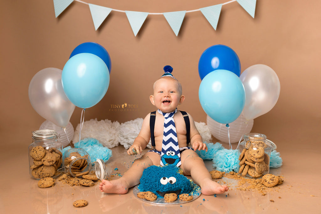 Boys Blue Chevron Cookie Monster Outfit