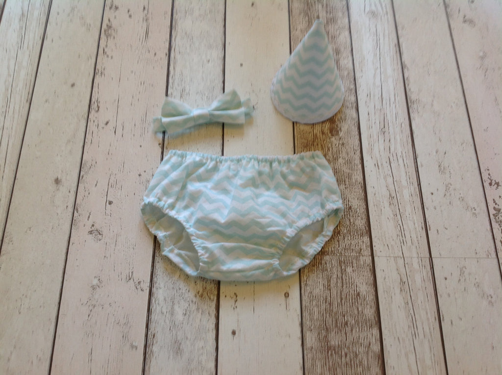 Boys Mint Chevron Set -  Pants, Hat and Bow Tie, age 12-18 months - First Birthday