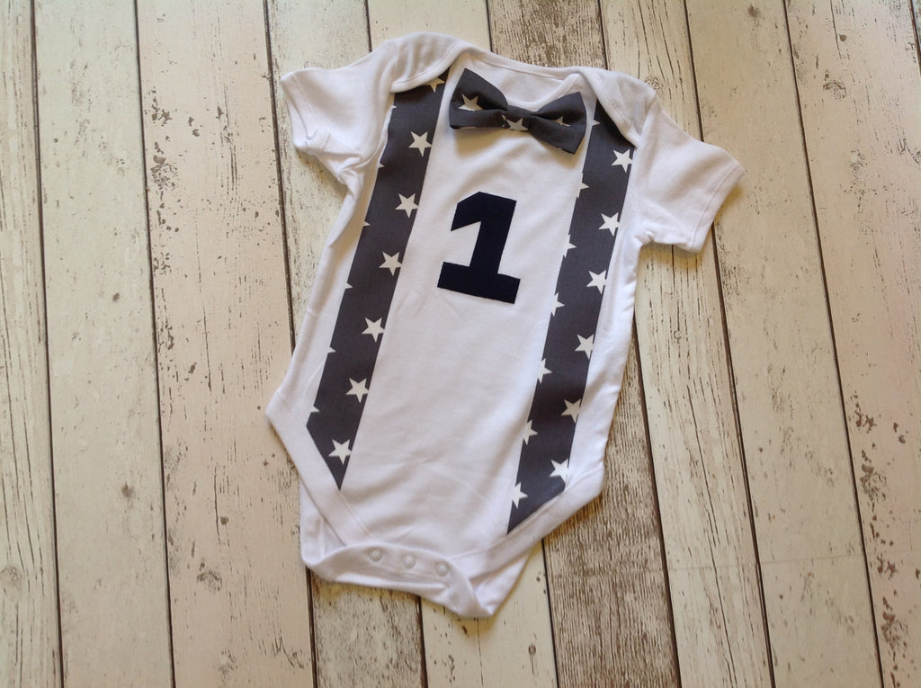 Boys Cake Smash Set - vest set, grey star, age 12-18 months
