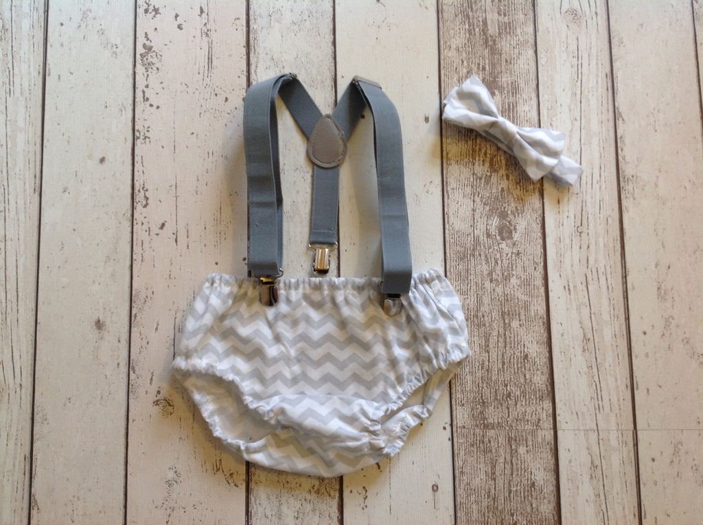 Boys Grey Chevron Cake Smash Set , Tie, Pants and hat age 12-18 months
