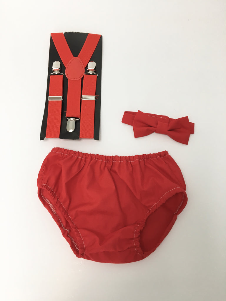 Boys Cake Smash Set - Red Bow Tie, Pants and Party hat age 12-18 months - baby photography -
