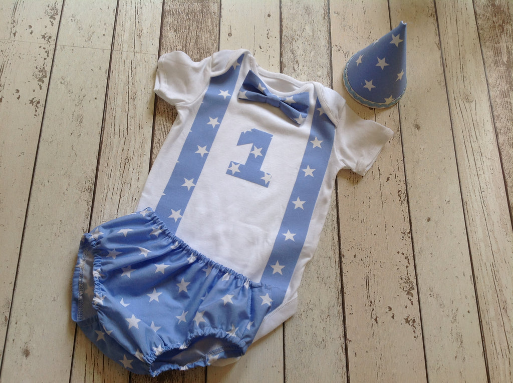 Boys baby blue star cake smash outfit