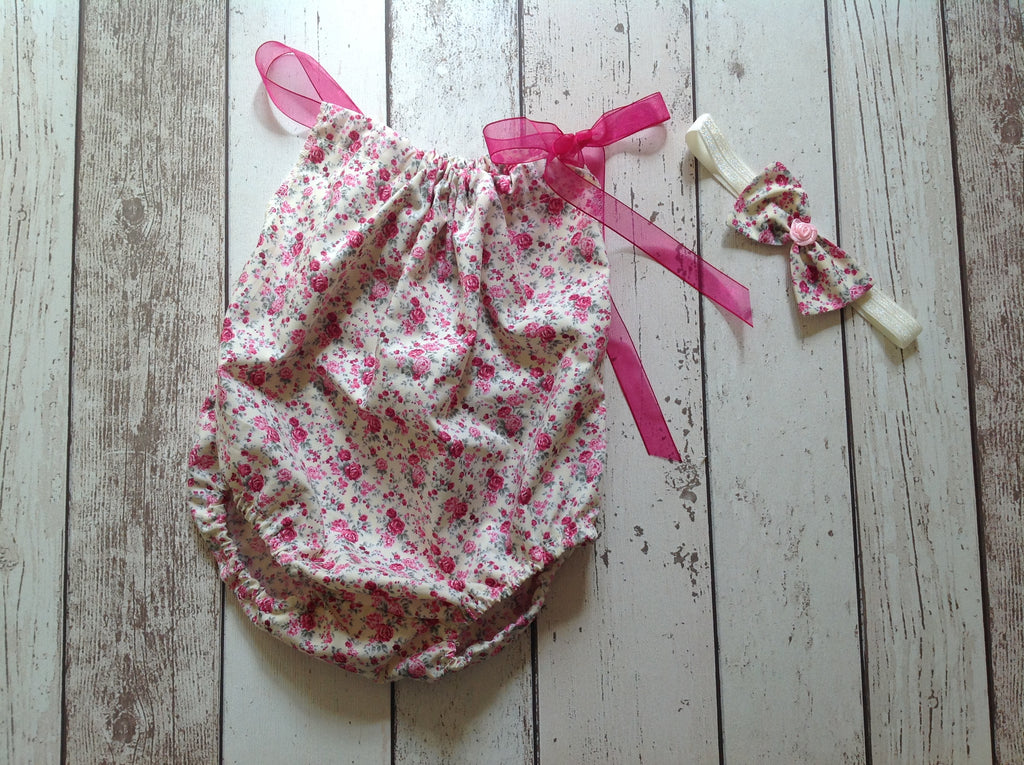 Girls Sitter Romper - Flower Sitter Romper and Headband, age 6-12 mths