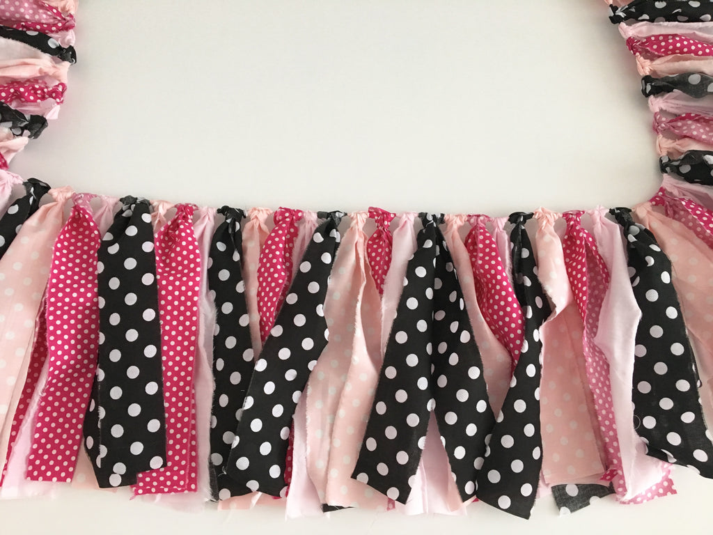Pink Minnie Mouse Rag Garland - Photography Prop - Cake Smash
