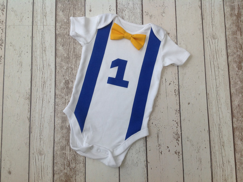 Royal Blue and Yellow Cake Smas Vest - age 12-18months