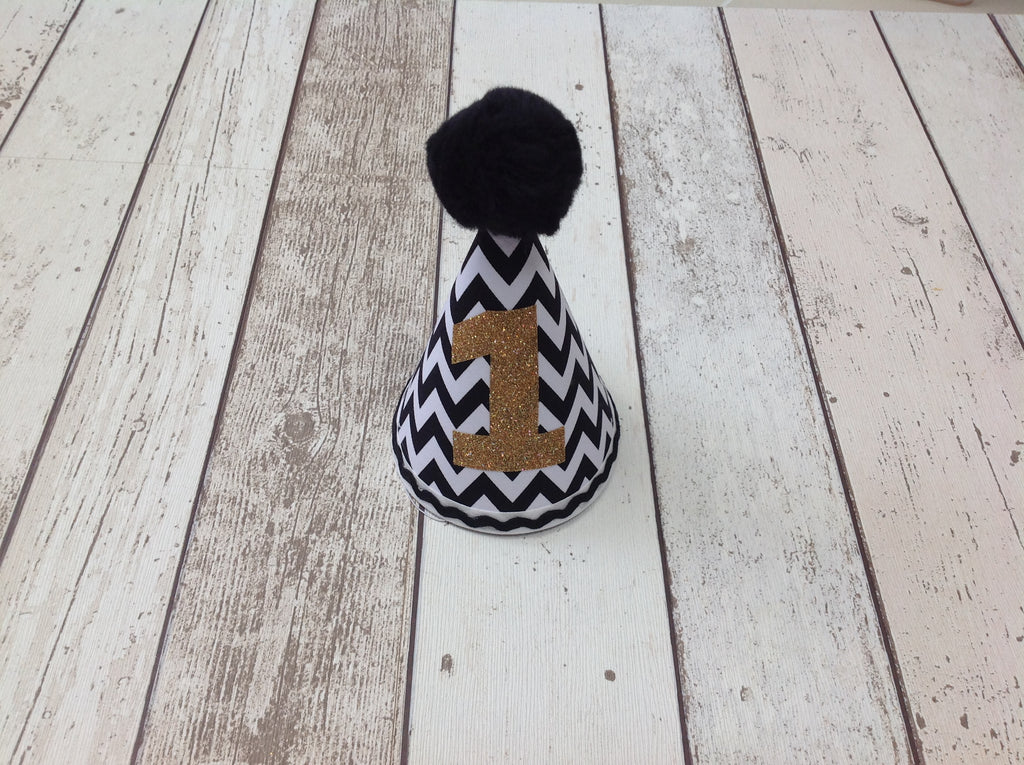 Boys Black Chevron Cake Smash Set -  Pants, Bow Tie and Hat - 12-18 mths