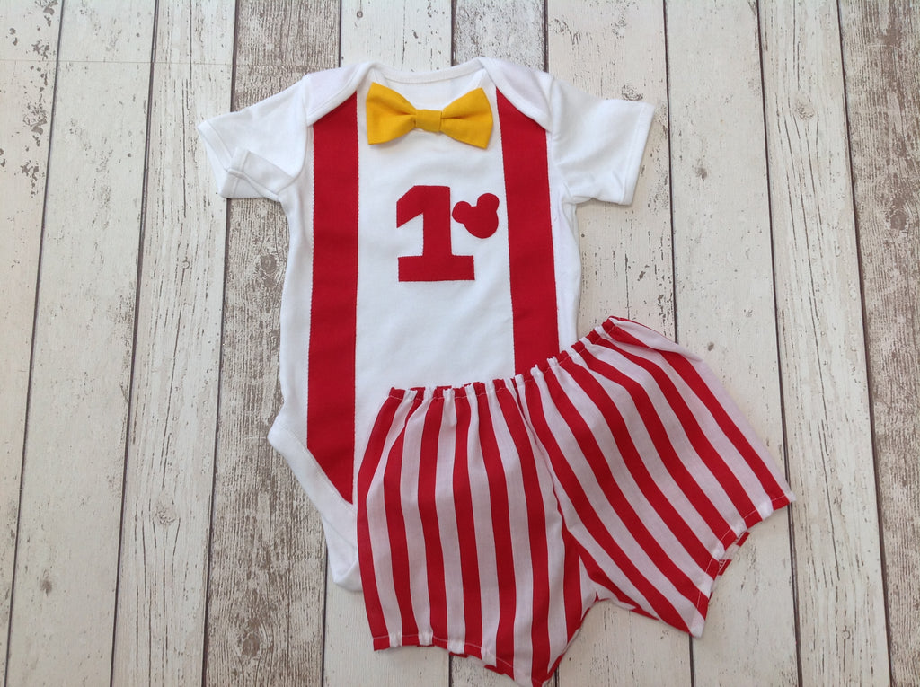 Boys Mickey Mouse Red and Yellow Cake Smash Set - Shorts, Hat, Vest - 12-18mths