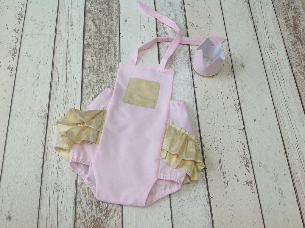 Girls Beautiful Gold and Pink Ruffle Romper and Crown - 12-18 mths