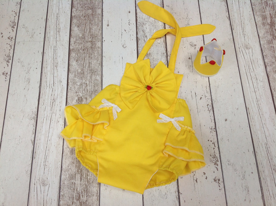 Little Princess Belle Inspired Ruffle Romper - Crown - Age 12-18 mths - Play or Smash