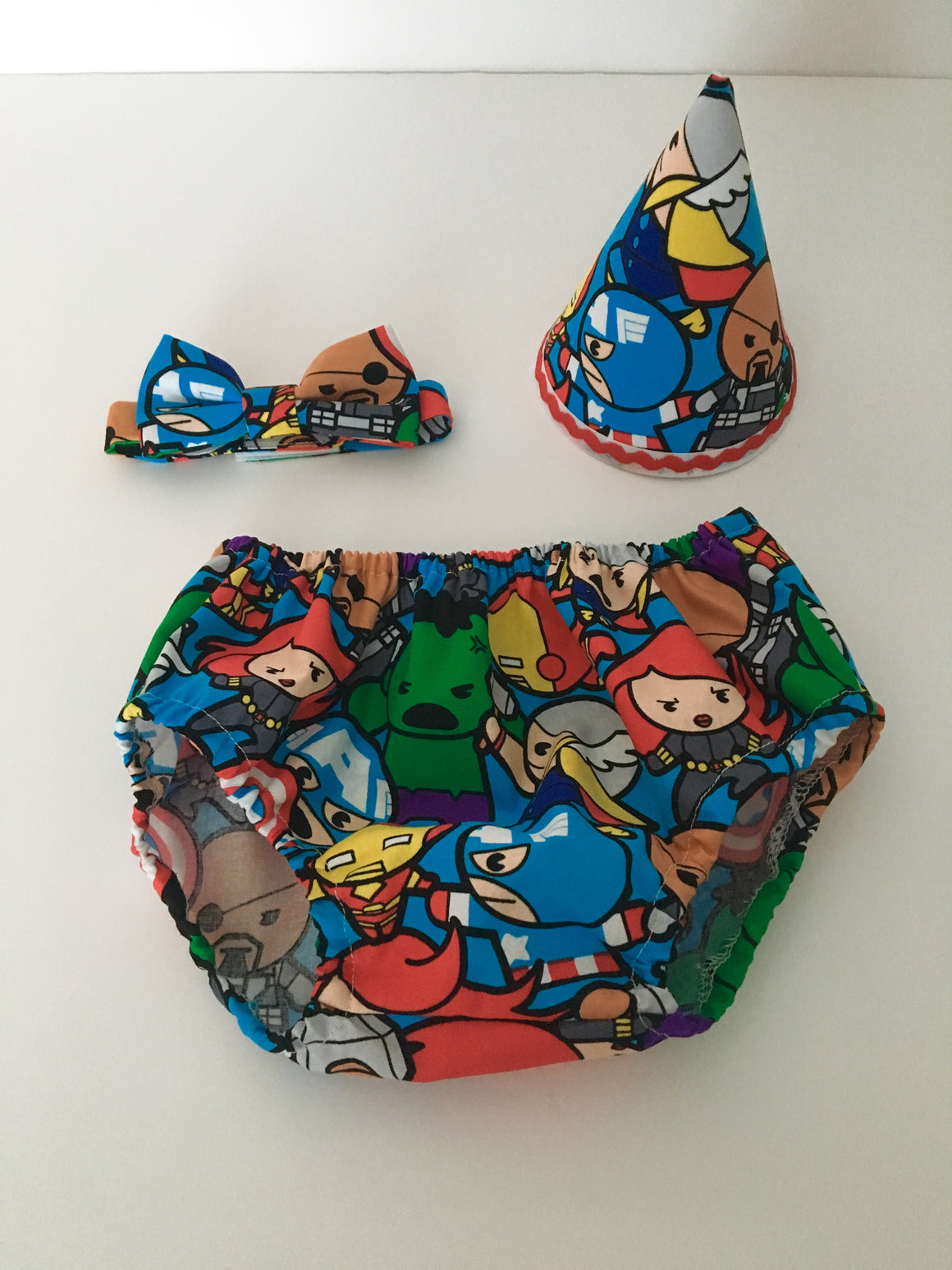 Boys Superhero Cake Smash Outfit - Pants, Hat, Bow Tie - Age 12-18 mths - Ready to Post