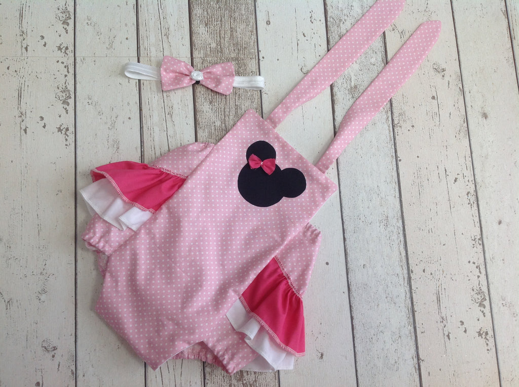 Minnie Mouse Cake Smash Tutu, Romper, Ears, Headband - age 12-18 mths - First Birthday