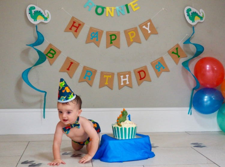 Boys Dino Cake Smash Set - age 12-18 months - Coordinating 1