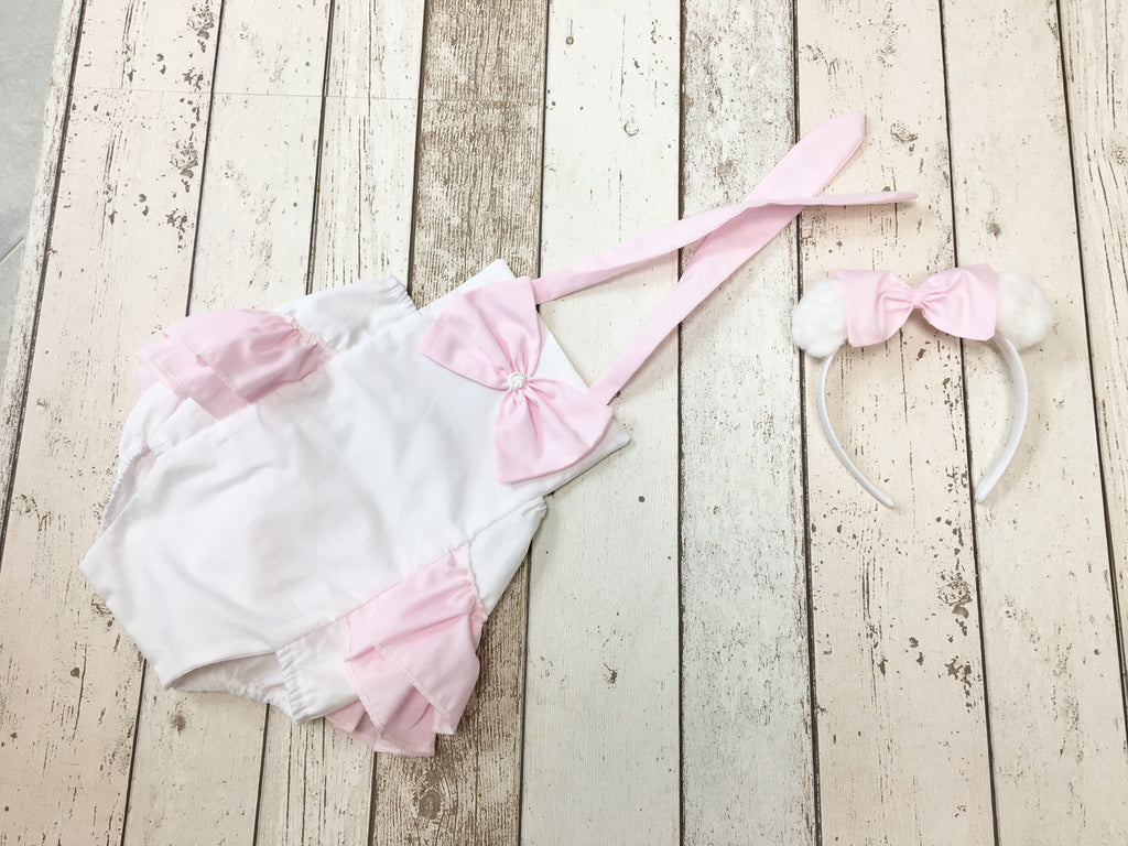 Girls Pink, White Cake Smash Outfit, Ruffle Romper, Headband - 12-18 mths - Photography