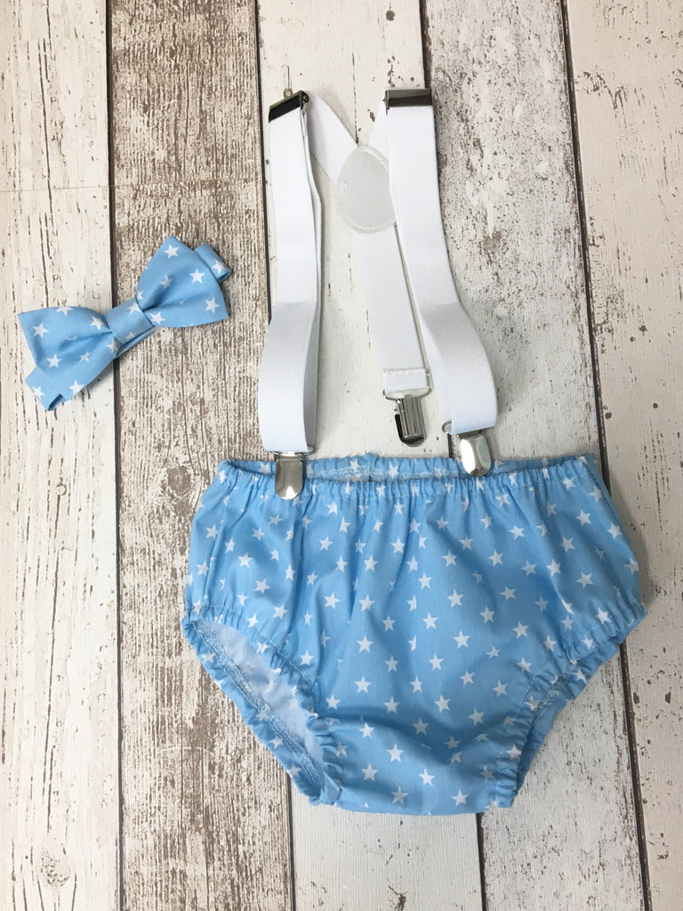 Boys Small Baby Blue Star Cake Smash Outfit - Pants, Bow Tie, Hat, Braces, 12-18 mths