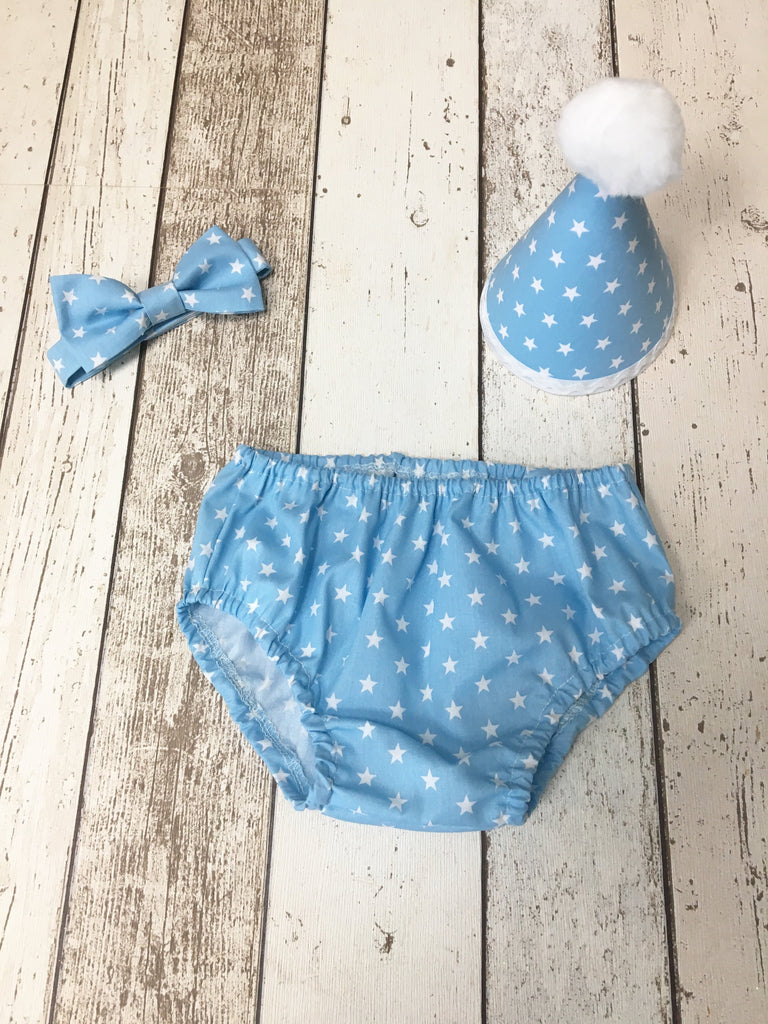 Boys Baby Blue Star Cake Smash set - Pants, Bow tie and hat - photography - 18-24months - Ready to Ship