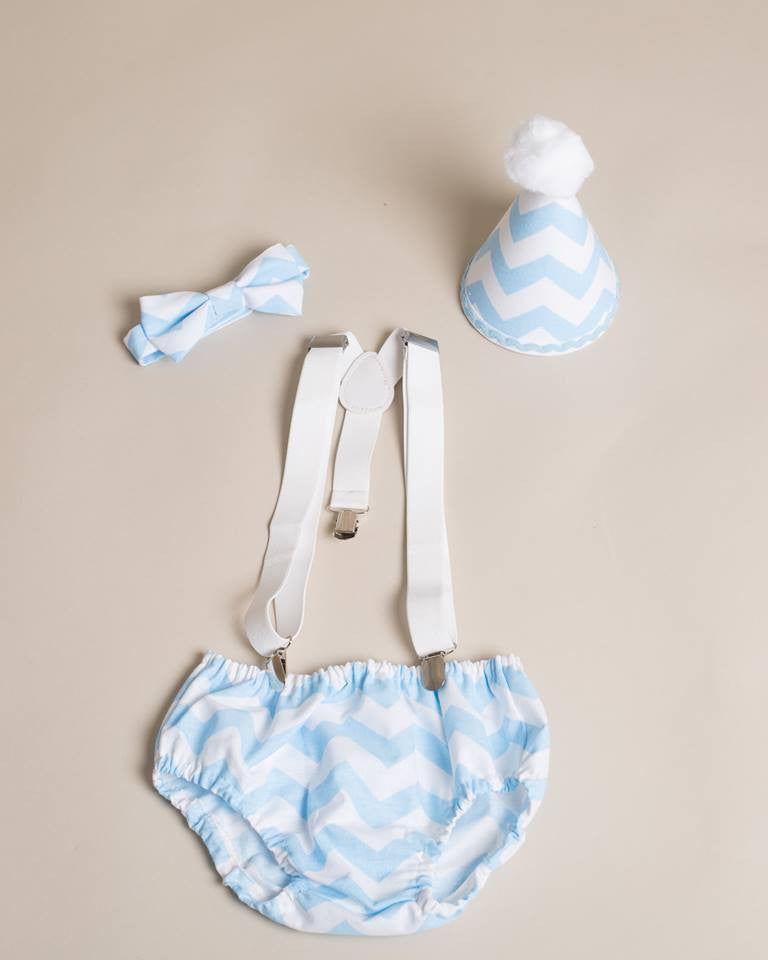 Boys Baby Blue Chevron Cake Smash Set - Tie or Bow Tie, Pants and hat age 12-18 months