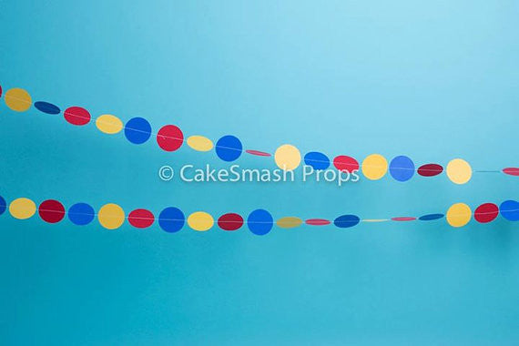 Decorative Circle Paper Bunting - Photography Prop- Various Colours