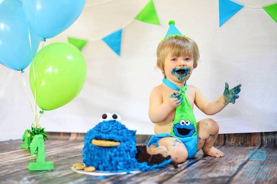 Boys Cake Smash Set - Cookie Monster Outfit age 12-18 months