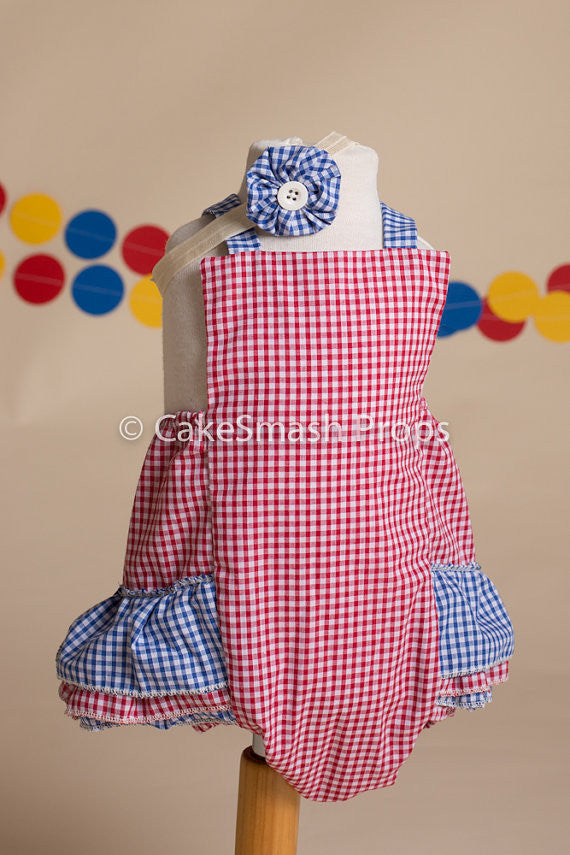 Girls Blue and Red Check Cake Smash Set - Ruffle Romper, headband, age 12-18 mths