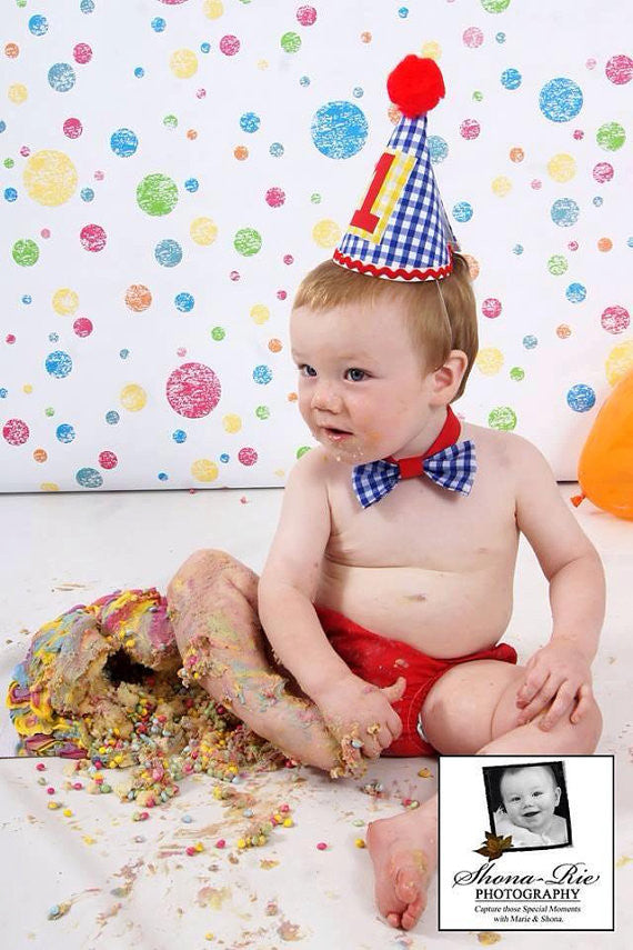 Boys Cake Smash Set - Bright Set, Bow Tie, Pants and hat with braces, age 12-18 months