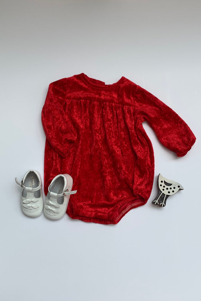 Girls Red Velour Long Sleeve Romper - photgraphy shoot, special occasions
