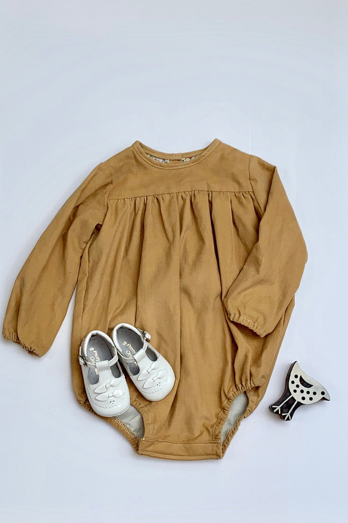 Girls Corduroy tan coloured Romper - photography shoot, special occasions
