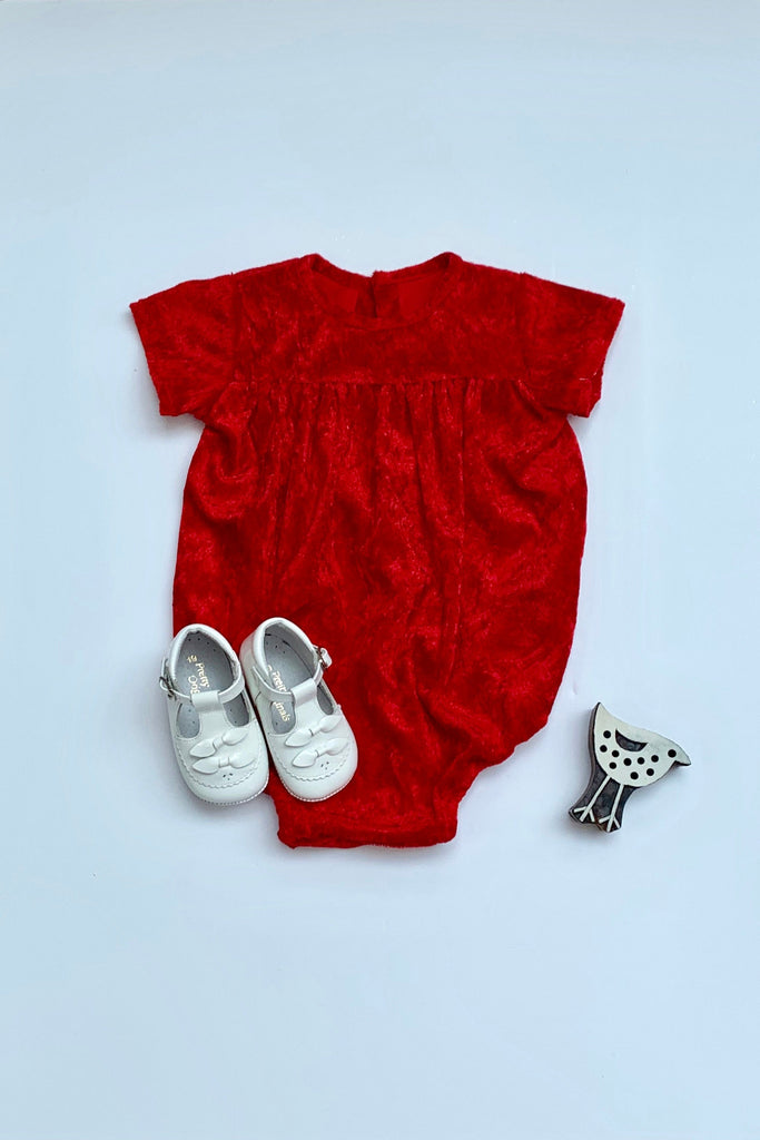 Girls Red Velour Romper - photgraphy shoot, special occasions