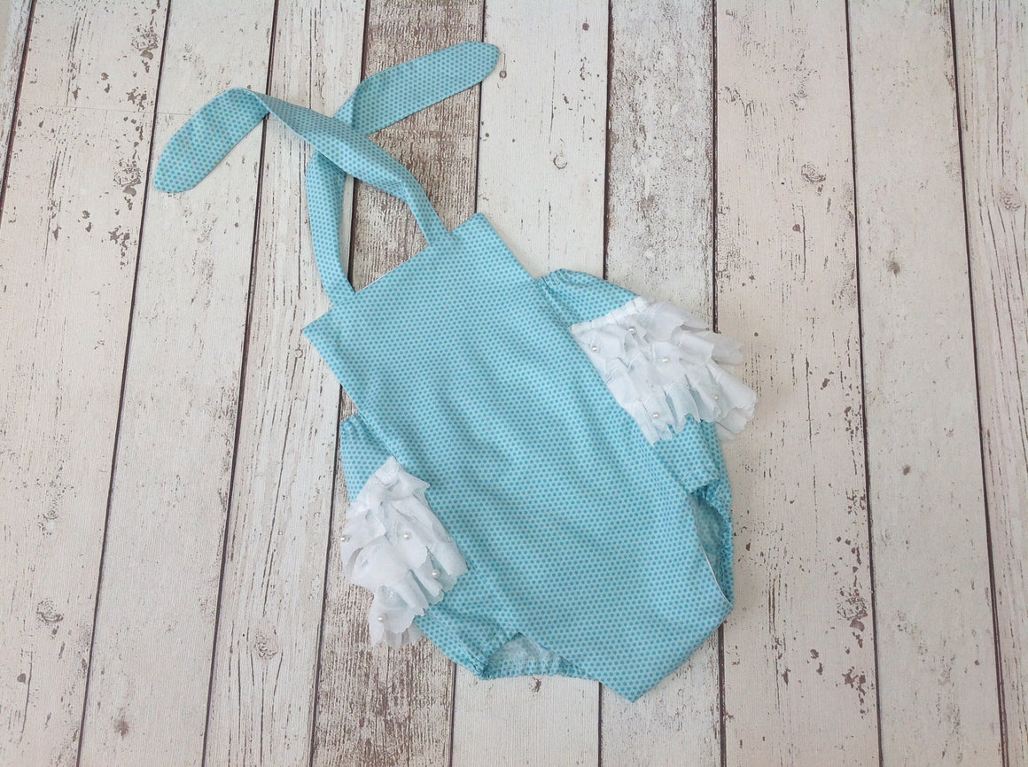 Girls Mint Spot Cake Smash Ruffle Romper  - 3 Lace ruffle - RTS - 12-18mths - SALE ITEM