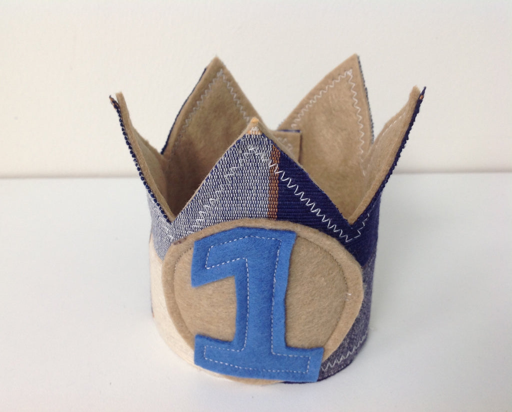 Blue and Tan Check Crown - Birthday - Party - Photography - ready to post