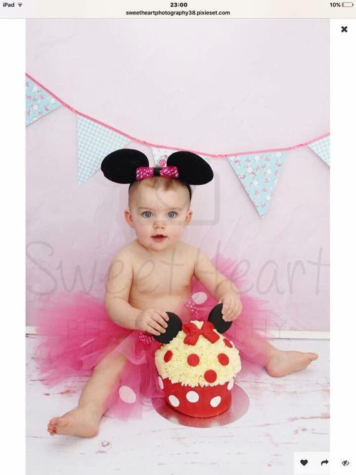 Girls Red or Pink Minnie Mouse Tutu Cake Smash Set, Age 12-24 mths