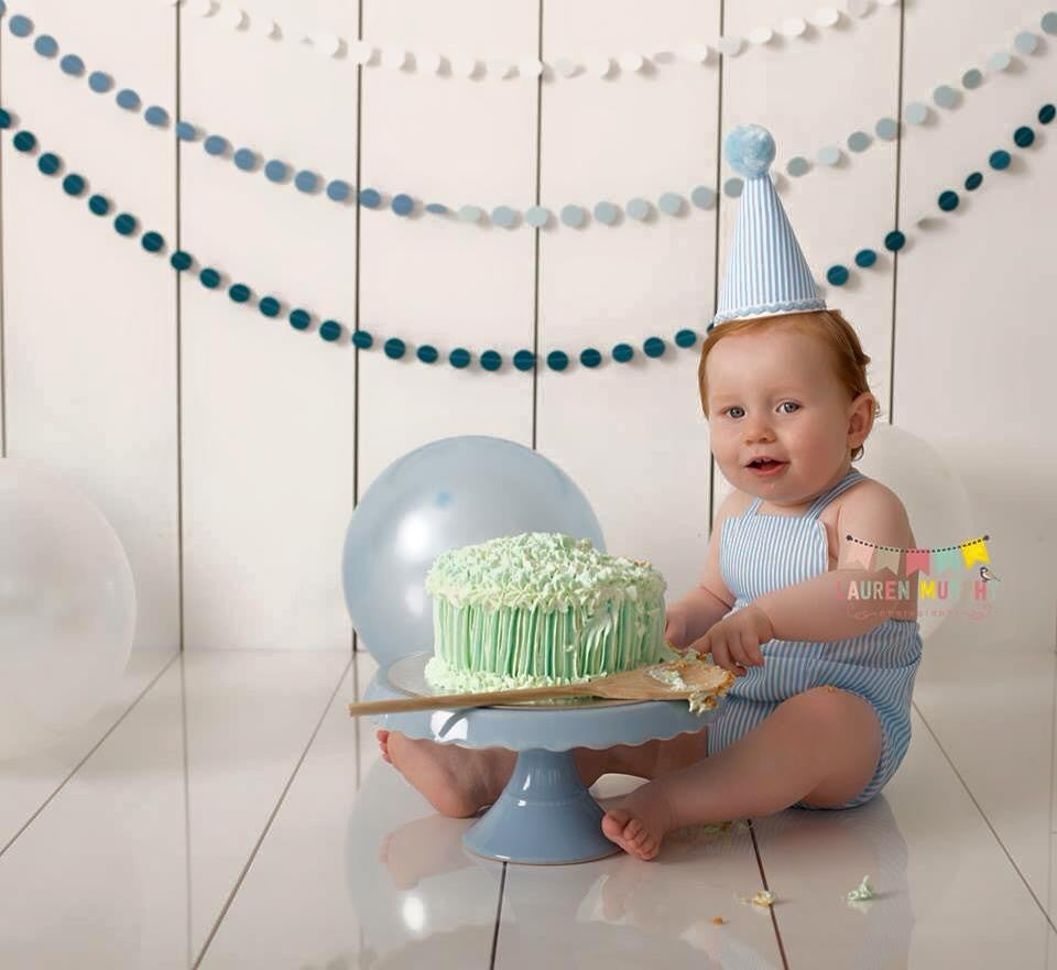 Boys Cake Smash Set - Baby Blue Stripe Romper and Party Hat age 12-18 months