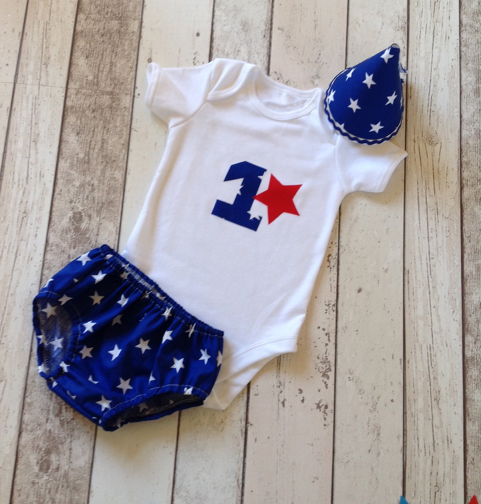 Boys Blue Star Cake Smash Outfit