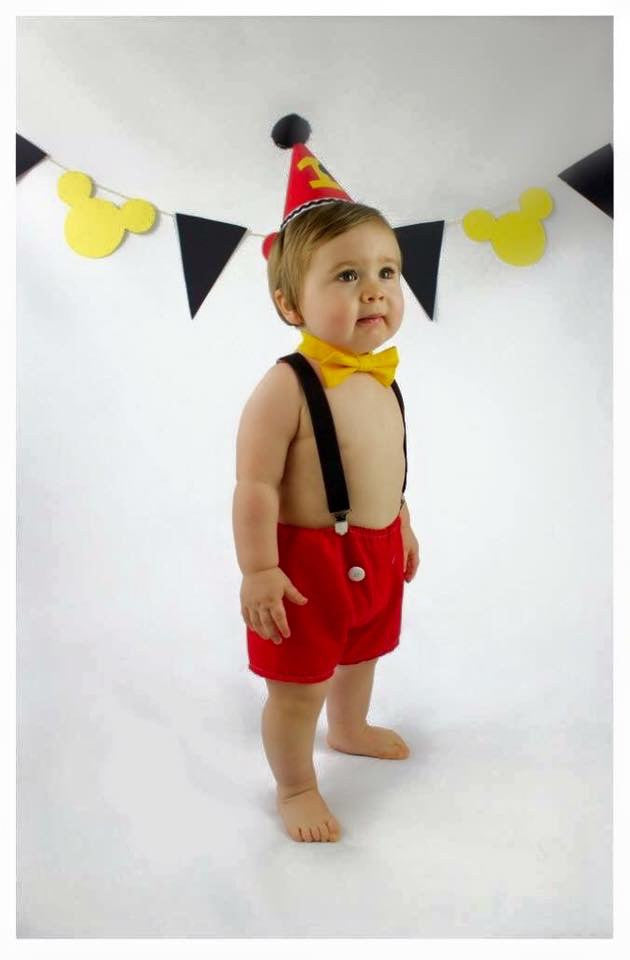 Boys Mickey Mouse Cake Smash Set - with shorts, braces, bow tie and hat - age 12-18 months