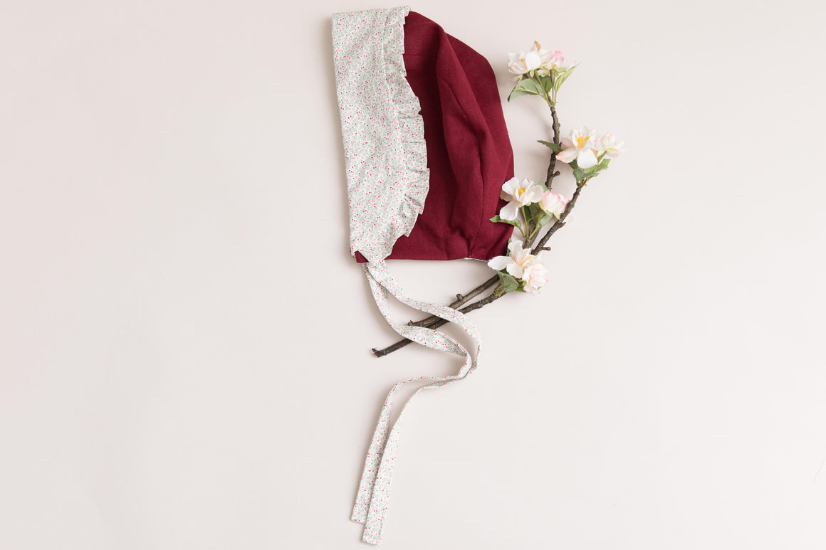 Vintage wine colour and flowery reversible bonnet with a frilled edge - flower girl - christening - photography shoots - special occasions
