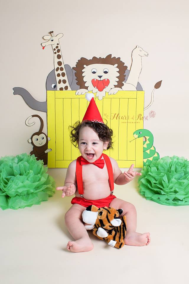 Boys Red Birthday Cake Smash Outfit