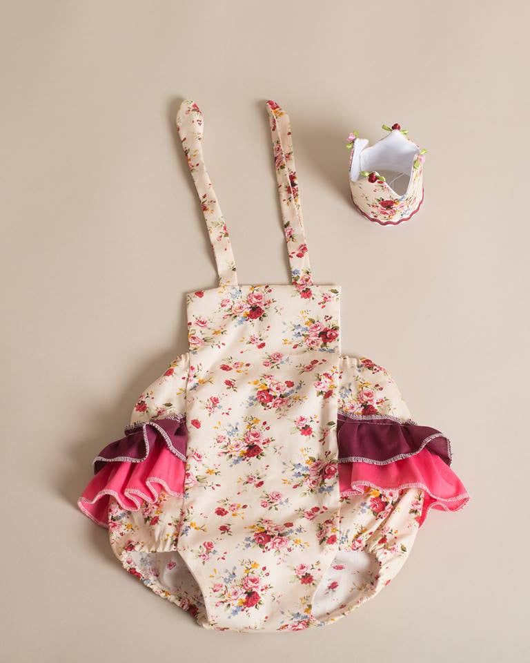 Girls Cake Smash Set - Flower Ruffle Romper and Crown age 12-18 months