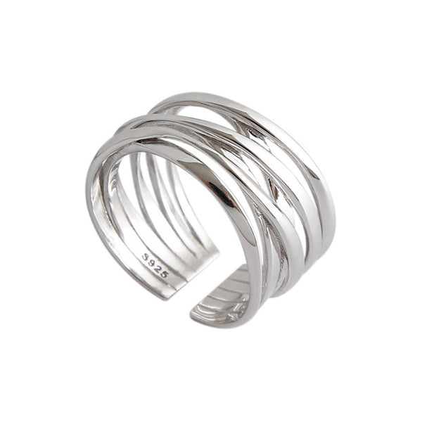 Wicker silver ring