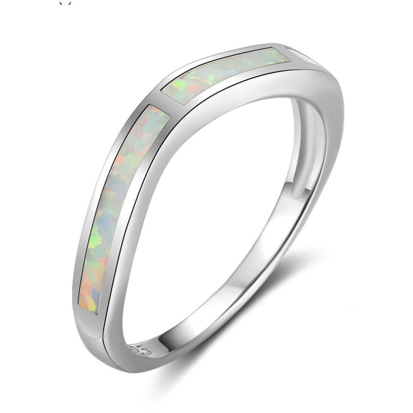 Spilled opal silver ring