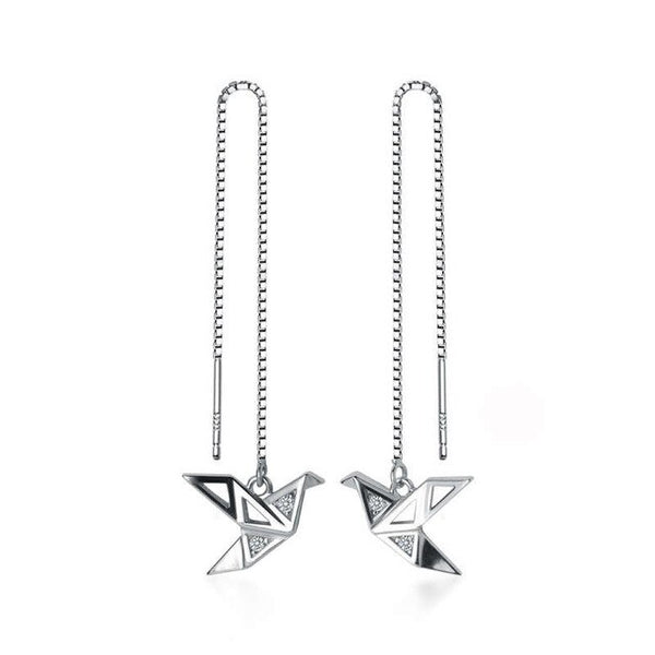 Hanging birds silver earrings