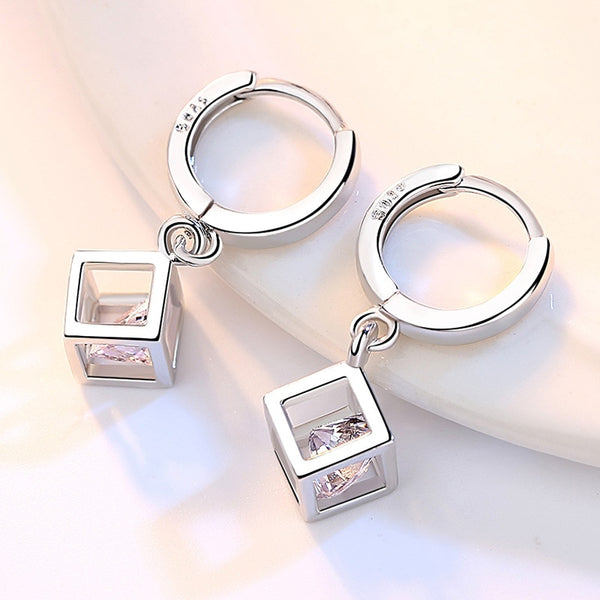 Cube silver hoops