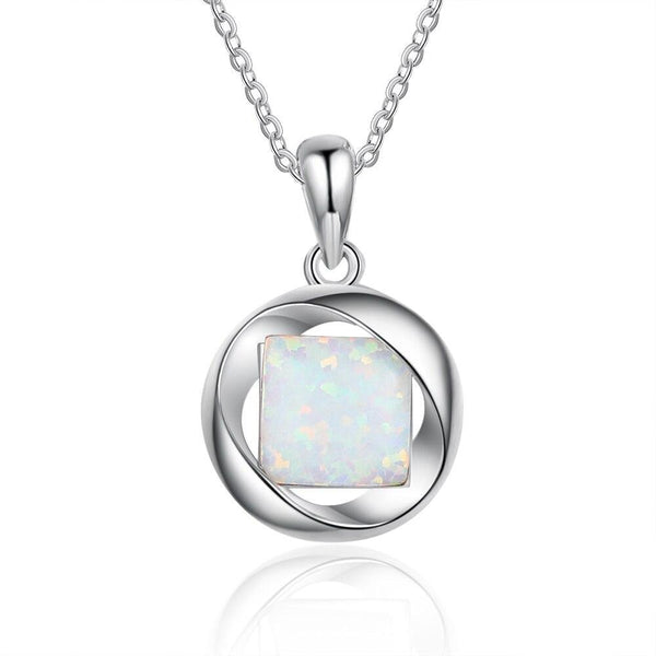 Square opal silver necklace