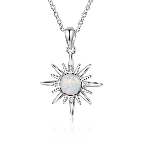 Sun opal silver necklace
